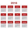 2016 Calendar template vector image