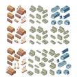 3d buildings set vector image