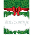 christmas background with ribbon and leaves vector image