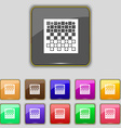 checkers board icon sign Set with eleven colored vector image