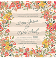 wedding invitation flowers and stripes pink vector image