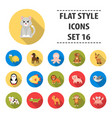 animals set icons in flat style big collection vector image
