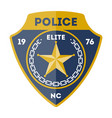 elite policeman sign with golden star icon vector image