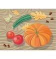 Set of Autumn Fetuses Squash Apples Acorns vector image