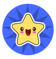 star face emoticon cute kawaii character on blue vector image