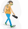 Student in a hurry vector image
