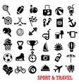 Sport travel tourism an recreation icons set vector image