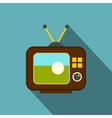 Ball on the screen of retro TV icon flat style vector image
