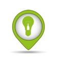 bulb green energy pin icon vector image