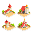 Church 4 Isometric Icons Set vector image