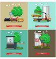set of car parking square posters in flat vector image