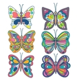 Set of colorful beautiful butterfly collection vector image