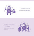 smart iron and vacuum cleaner robot concept vector image