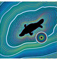 Aboriginal art background platypus vector image