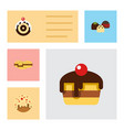 Flat cake set of pastry biscuit doughnut and vector image
