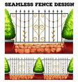 Seamless metal fence design with bushes vector image