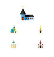 flat icon church set of christian architecture vector image