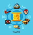 pirate treasure round composition vector image
