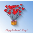 surprise gift box with red hearts symbol vector image