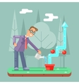 Successful Businessman Watering Growth Infographic vector image