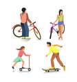 people on bike boy on skateboard girl on scooter vector image