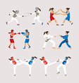 Fighting Sports Athletes Women Set vector image vector image