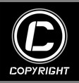 black copyright icon vector image