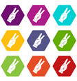hand showing victory sign icon set color vector image