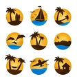 Set tropical flat circle tropical icon palm vector image