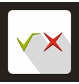 Tick and cross icon flat style vector image