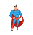 Standing Superhero in red cape icon cartoon style vector image