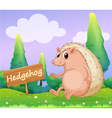 A hedgehog beside a wooden signage vector image