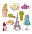 colorful paris elements set vector image