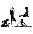 Four sports women silhouettes vector image