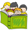 children reading a book vector image vector image