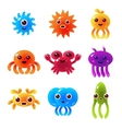 Marine Animals Balloon Characters Set vector image
