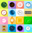 clocks icons set colorful flat style vector image