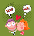 love kiss composition comic style vector image