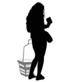 silhouette of a woman with shopping basket vector image