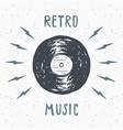 vinyl record vintage label hand drawn sketch vector image