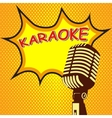 Karaoke Old style microphone on pop art style vector image