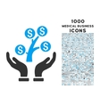 Money Tree Care Hands Icon with 1000 Medical vector image