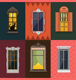 colorful detailed night windows collection vector image