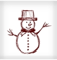 Snowman with hat vector image vector image