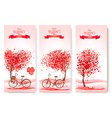 Three valentines day banners with pink trees and vector image vector image