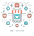 Flat line Mobile Commerce Concept vector image vector image