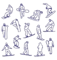 silhouettes snowboarders vector image
