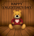 valentine day Teddy bear brown stuffed toy print vector image