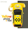 Yellow taxi-phone vector image