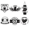 Set of vintage boxing emblems labels badges logos vector image